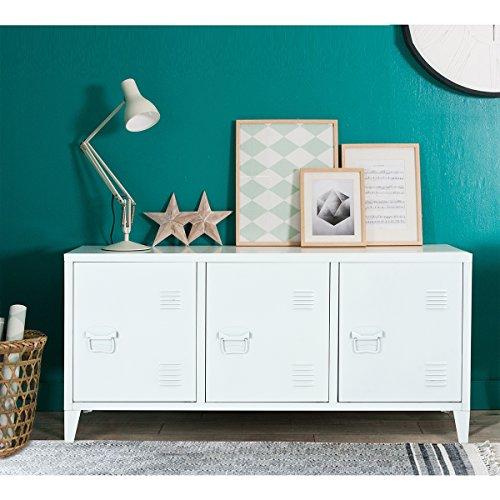 Espacio armario metálico armario de almacenamiento de metal de 2 capas 3 puertas de metal mueble de escritorio armario armario de oficina armario de almacenamiento armario 120 × 40 × 58 cm