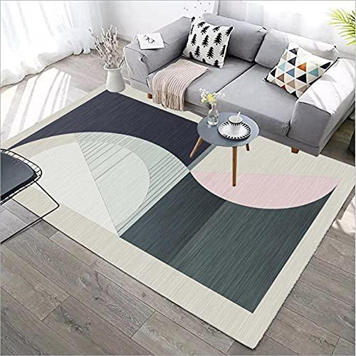 GONGFF Alfombras de área para sala de estar, alfombra moderna, decoración del hogar, antideslizante, rosa, azul oscuro, verde, semicírculo, costura geométrica, 160 x 230 cm