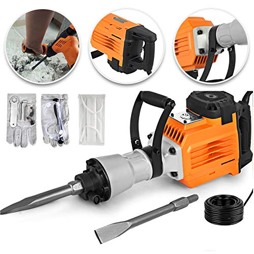 TOTOOL Electric Demolition Jack Hammer Concrete Breaker 3600W Electric Demolition Hammer 1400RPM Heavy Duty Jack Hammer with Bull Point Flat Chisel (3600W)