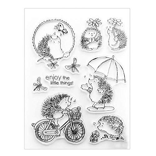 Fliyeong Schöne Radfahren Igel Silikon Clear Stamper DIY Scrapbooking Karte Album Decor DIY benutzerdefinierte PVC Umweltsiegel Stempel Werkzeug hohe Qualität