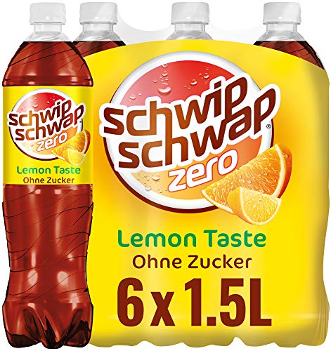 Schwip Schwap Lemon ohne Zucker – Koffeinhaltiges Cola-Erfrischungsgetränk mit Orange und Zitrone (6 x 1.5 l)