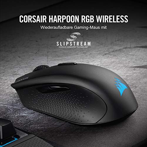 Corsair Harpoon Kabellose RGB Wiederaufladbare Optisch Gaming-Maus (mit SLIPSTREAM Technologie, 10.000DPI Optisch Sensor, RGB LED Hintergrundbeleuchtung) schwarz - 2
