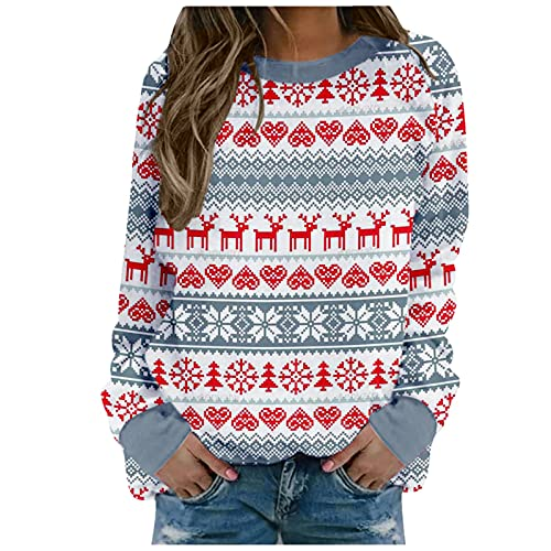 5665 Christmas Tree Print Tops for Women,Casual Long Sleeve Crewneck Sweatshirt,Loose Fit Workout Trendy Y2k Cute Pullover