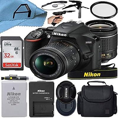 Nikon D3500 DSLR Camera 24.2MP Sensor with NIKKOR 18-55mm f/3.5-5.6G VR Lens, SanDisk 32GB Memory Card, Case, Tripod and A-Cell Accessory Bundle (Black) by Nikon intl