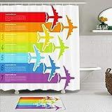 RUBEITA Rideaux de Douche et Tapis de Bain,Voyage Voyage Fly Rainbow Airplanes Flight Commercial Airline Aviation Plane Line Airplane Graphic Wing,Rideaux de Bain avec 12 Crochets,Tapis antidérapants
