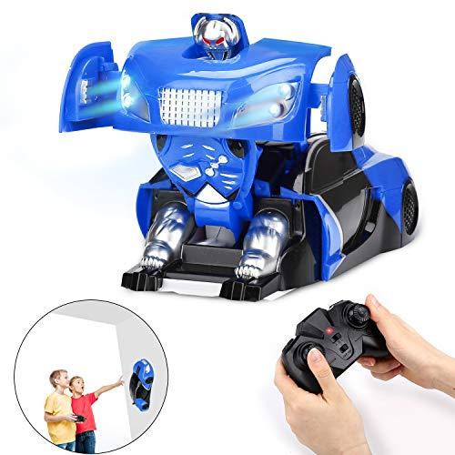 Ferngesteuertes Auto Transform Roboter RC Auto USB Wiederaufladbare 360°Drehung Dual-Modi Kletterwand Fernbedienung Spielzeug mit LED-Scheinwerfer Auto Spielzeug Geschenk für Jungen Mädchen