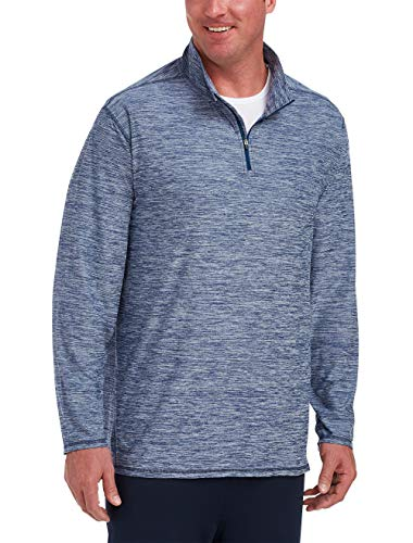 Amazon Essentials Men's Tech Stretch Quarter-Zip, True Blue Space Dye, 6XL