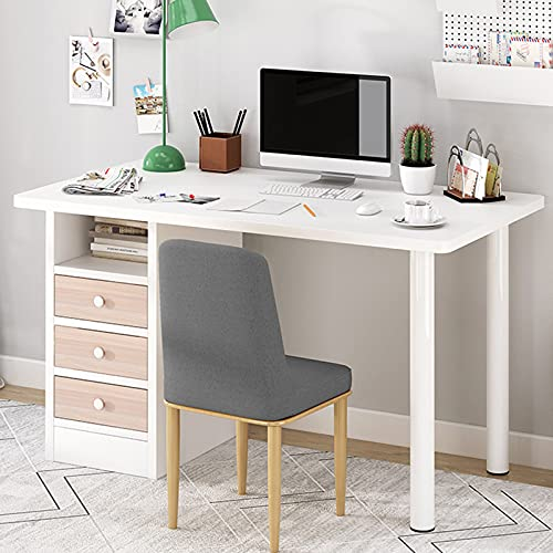 Computer Desk Writing Study Table - 40 Inch Home Office Desk Writing Table Study Table Work Desk with 3 Drawers and Open Shelf for Teen Students Bedrooms Study Office Living Room (White)