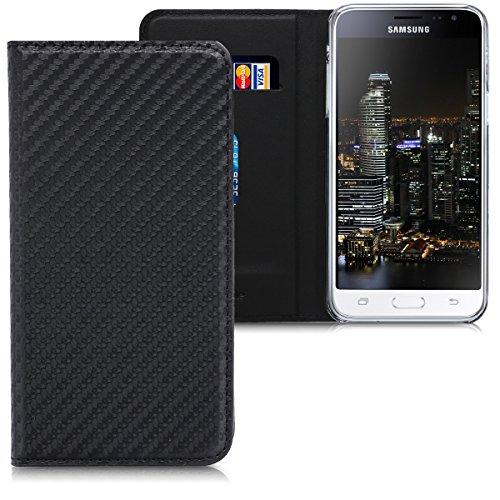 kwmobile Hülle kompatibel mit Samsung Galaxy J3 (2016) DUOS - Kunstleder Handy Schutzhülle - Flip Cover Hülle - Carbon Schwarz