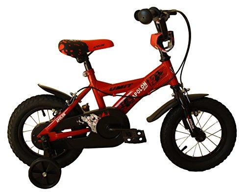 "Umit J1250 Bicicleta Infantil, Niños, Rojo/Negro, 12"""