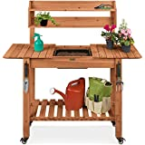 Best Choice Products Outdoor Mobile Garden Potting Bench, Wood Workstation Table w/Sliding Tabletop, 4 Locking Wheels, Food Grade Dry Sink, Storage Shelves - Brown Stain Finish