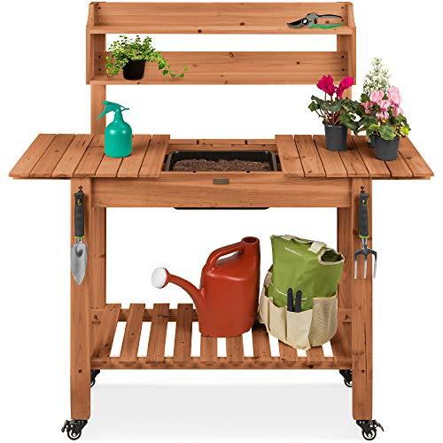 最佳选择产品户外移动花园贴装台,木工作站表W /滑动台,4个锁轮,食品级干水槽,储物架 - 棕色染色