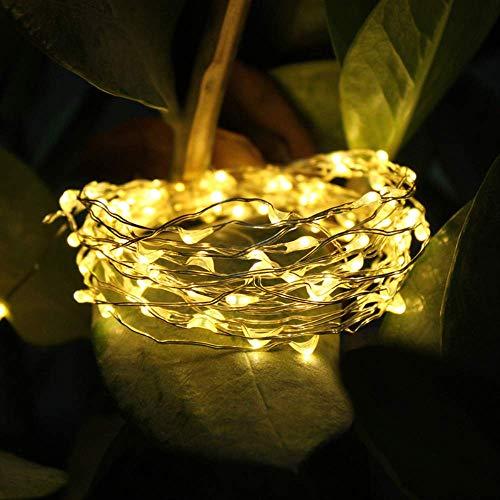 PXNH Cadena de luz solar al aire libre Impermeable Jardín Luces de hadas Cadena Fiesta de bodas de Navidad Decoración de luz solar 30M blanco cálido