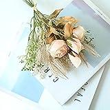huaao Flores Artificiales Falsas Rosas Seda y Orejas de Trigo Plantas Ramo de Plástico Arreglo Floral Bouquets Flor Nupcial Decoración Boda Hogar Jardín Fiesta Oficina Centro de Mesa (Champagne)