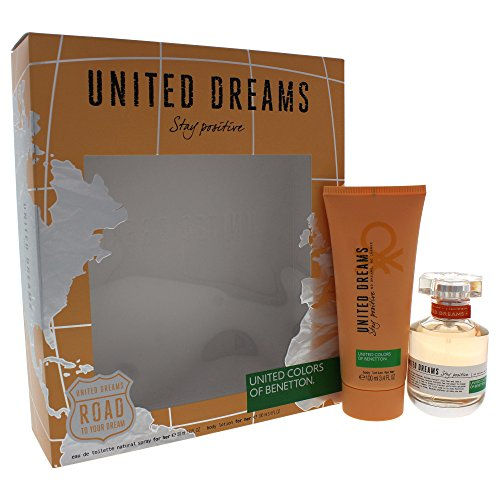 United Dreams Stay Positive by United Colors of Benetton for Women 2 Piece Set Includes: 1.7 oz Eau de Toilette Spray + 3.4 oz Body Lotion
