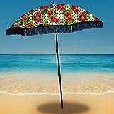 Beach Umbrella for Sand – Best Beach Umbrella Windproof with Sand Anchor Portable Sport Umbrella, Fringe, Denim Beach Umbrella Bag, Features Pointed Bottom & 100% UV Sun Protection – Bahama (Solana)