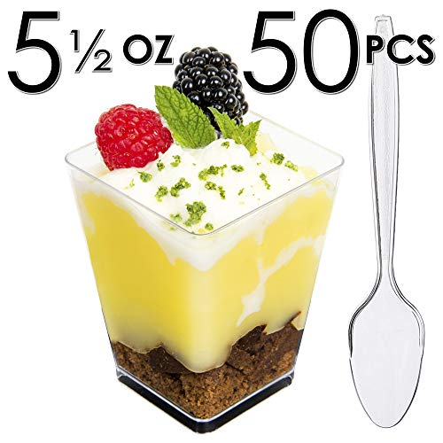 5 oz Mini Dessert/Appetizer Cups with Spoons (50 count)