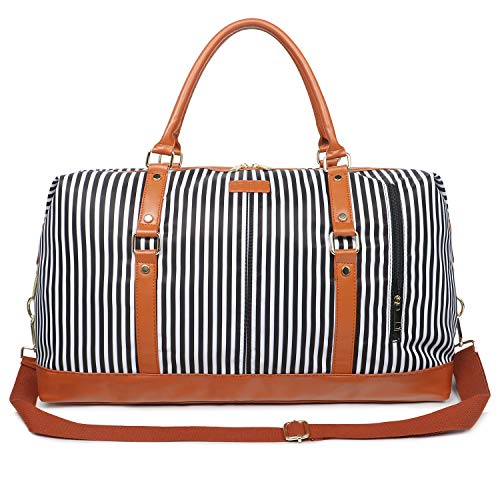 Oflamn Duffle Bag Canvas Leather Weekender Overnight Travel Carry On Bag (Black White Stripe, X-Large)