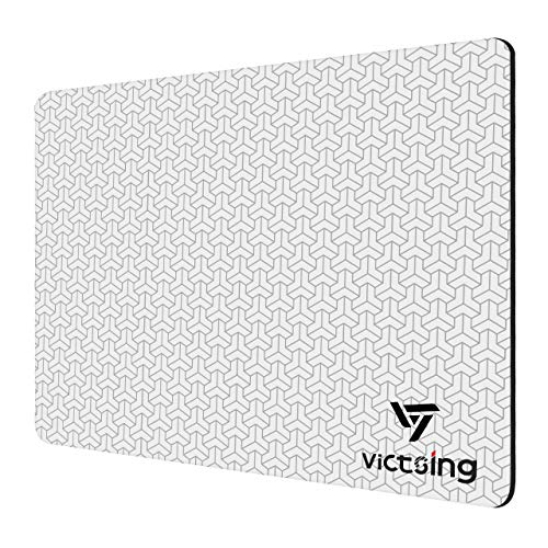 VicTsing [15% Larger] Mouse Pad, 3D Textured Plastic Surface Mouse Pad with Non-Slip Rubber, Fast and Smooth Control for High DPI Game, Compatible with All DPI Mice for Both Work & Gaming(10.2x8.3in)