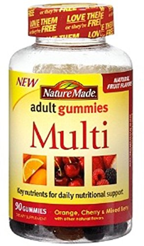 Nature Made Multi Adult Gummies, Orange, Cherry & Mixed Berry 90 ea (Pack of 2)