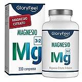 Magnesio Citrato Premium 360mg | 200 Capsule Vegane Senza Additivi | 2400mg di cui 360mg Magnesio Elementare per Dose Quotidiana | Integratore Alimentare di Gloryfeel®