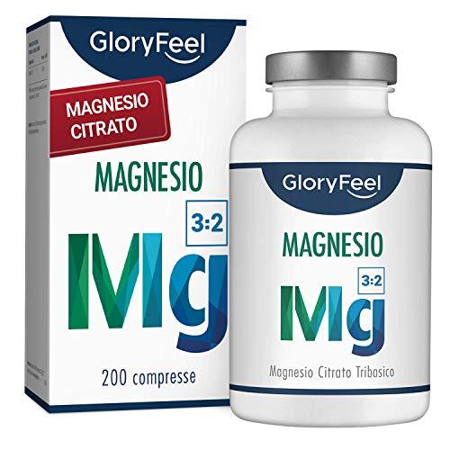 Magnesio Citrato Premium 360mg | 200 Capsule Vegane Senza Additivi | 2400mg di cui 360mg Magnesio Elementare per Dose Quotidiana | Vincitore del Confronto 2019* | Integratore Alimentare di Gloryfeel