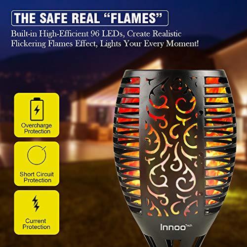 Innoo Tech Solar Torch Lights, 96 Led Waterproof Flickering Flames Torches Lights Outdoor, 3 Ways Installation Landscape Decoration Lighting, 4 Pack
