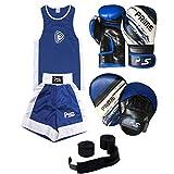 Prime niños de boxeo con parte superior azul uniforme/corto 3–14años + Focus Pad...