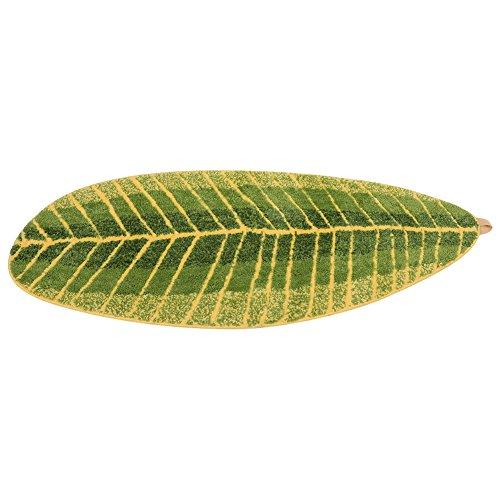 Alfombrilla antideslizante en forma de hoja, verde, lavable, para salón, baño o mesita de noche, microfibra, muchos colores, L (45 * 120cm)