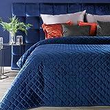 Eurofirany Zweiseitige Tagesdecke 220X240 Bettüberwurf 170x210 Steppdecke RIA Velours Velvet Samt Samtdecke (RIA1 dunkelblau, 220 X 240 cm)