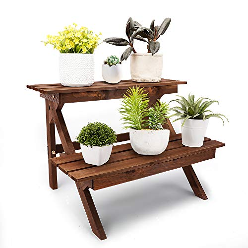 Homes Garden 2 Tier Natural Fir Wood Plant Stand Deluxe Shelf Flower Pot Holder, Easy to Assemble Indoor & Outdoor Decor by Garden