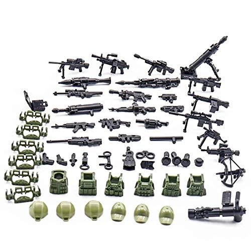 HYZM Armas Militares Juguete, Militares de Juguete Heltem Casco y Arma Set para Minifiguras Policía Soldados SWAT, Compatible con Lego