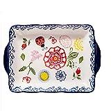 JIAGU Utensilios Plato de Frutas binaural Desayuno Bandeja Rectangular de cerámica Bandeja de Horno Principal (2 Unidades, una for Cada tamaño) (Color : C3, Size : Free Size)