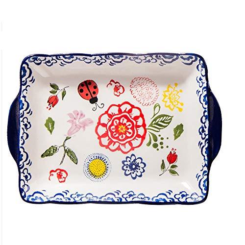 yaunli Bakeware Rechteckige Keramik Backblech Startseite Binaural Obstschale Frühstück Tray (2 Stück) Ofen bakeware...