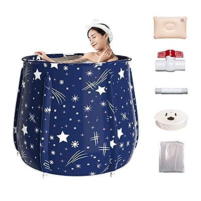 FlySkip Portable Bathtub, 31.5X25.6Inch Eco-Friendly Folding Foldable Adult Bath Tub, Six-layer Keep Temperature Home Insulation Bath Barrel ,Collapsible Adult Bathtub with Lid and 5Pcs Bathing Bags