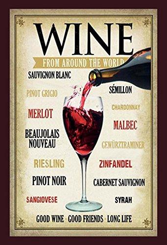 Schatzmix Wine from Around The World Redwine Whitewine Wein Metal Sign deko Sign Garten Blech