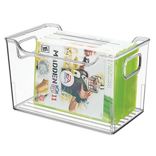 mDesign - Opbergbox - voor overal in huis - voor videospellen, dvd's speelgoed en meer - plastic/ideaal voor slaapkamer - doorzichtig