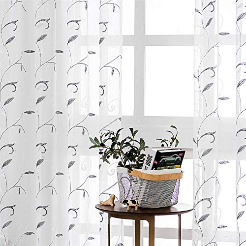 VISIONTEX White Sheer Curtains 84 Inches Long, Embroidered Semi Voile Panels Pair, Grey Leaves Embroidery Rod Pocket, Tulle Backdrop Overlay Window Treatment Drapes for Bedroom 54'W x 84'L, Set of 2