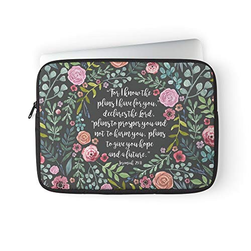Verse Christian Flower Quote Religious Bible Motivational Inspirational Laptop Sleeve Bag Compatible with MacBook Pro, MacBook Air, Notebook Computer, Water Repelle