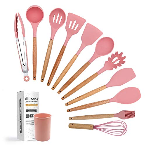 Silicone Cooking Utensil Set 12pcs,ERFEI Silicone Cooking Kitchen Utensils Set with Natural Beech Handle,Non-stick,BPA Free,Non Toxic Heat Resistant,Easy To Clean,Best Kitchen Gadget Tools,Pink