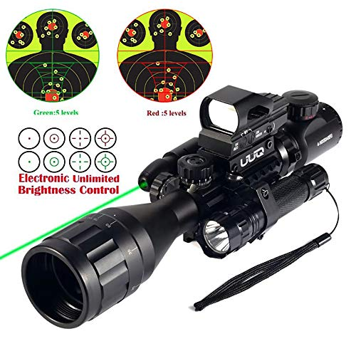 UUQ 4-16x50 AO Rifle Scope Red/Green Illuminated Range Finder Reticle W/Green Laser - Holographic Reflex Red Dot Sight - 5 Brightness Modes Flashlight