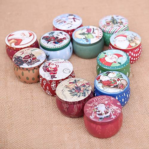 Teenxful Bluelans Décorations de Noël Vente, Joli Père Noël Imprimé Rond Fer Candy Case Box Container Cadeaux de Noël Noël, Random Style, Taille Unique