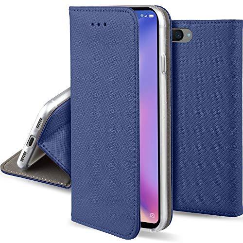 Moozy Funda para Xiaomi Mi 8 Lite, Azul Oscura - Flip Cover Smart Magnética con Stand Plegable y Soporte de Silicona