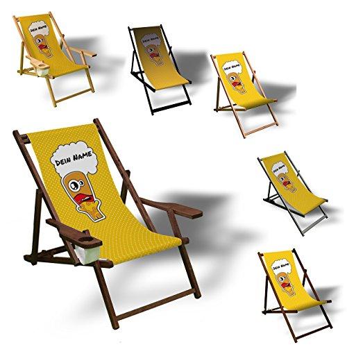 Printalio - Wunschtext - Comic Gelb - Liegestuhl Bedruckt Balkon Garten Sonnenliege Relax Holz Terrasse | mit Armlehne, Dunkelbraun