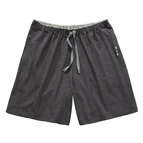 CiTO Herren Schlafanzug Night & Home - frei kombinierbar - Hose kurz oder lang - Shirt kurz oder Langarm - 100% Baumwolle (XXL, Hose kurz - Grau)