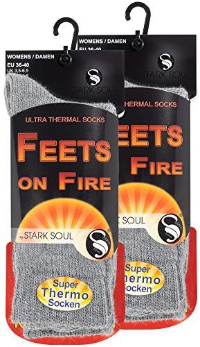 STARK SOUL FEETS on FIRE - 2 Paar Damen Ultra Thermo Socken, Warme Winter Socken, Hellgrau