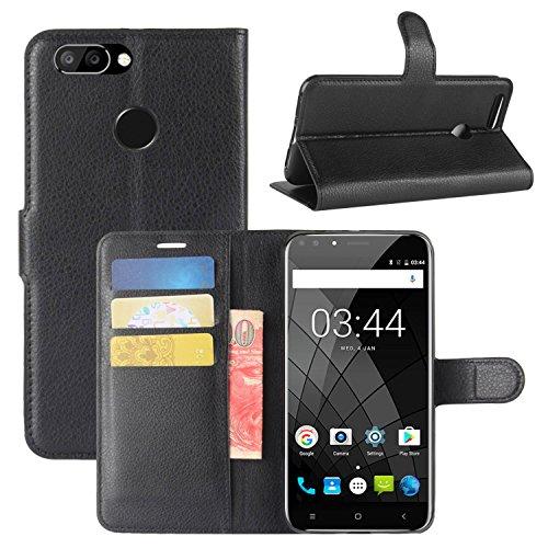 HualuBro Oukitel U22 Hülle, Premium PU Leder Leather Wallet HandyHülle Tasche Schutzhülle Flip Hülle Cover für Oukitel U22 Smartphone (Schwarz)