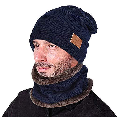 Opard Wintermütze Warm Beanie Strickmütze und Schal mit Fleecefutter (Azul Marino)