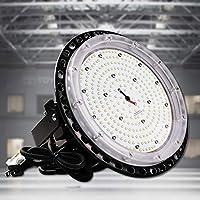 UFO型LED高天井照明 LED投光器100W 高輝度16000lm 1000Wバラストレス水銀灯相当 LEDライト IP65防水 掲示板、作業灯、駐車場、公園、工場、倉庫、天井照明 屋内屋外兼用 5Mコード付き PSE認証 【工場直接販売 二年保証】 昼白色5000k
