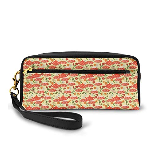 Pencil Case Pen Bag Pouch Stationary,Traditional Polka Dots with Teapot and Cups on Floral Composition Background,Small Makeup Bag Coin Purse